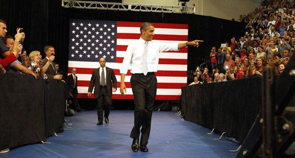 U.S. President Barack Obama arrives to speak about tax fairness and the economy at Florida Atlantic University in Boca Raton, Florida, April 10, 2012.