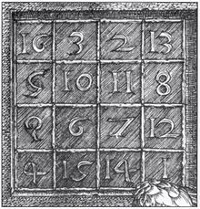 Albrecht Durer: Melencolia 1 magic square. The 4 × 4 magic square, with the two middle cells of the bottom row giving the date of the engraving: 1514. This 4x4 magic square, as well as having traditional magic square rules, its four quadrants, corners and centers equal the same number, 34, which happens to belong to the Fibonacci sequence.