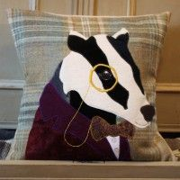 #badger  #cushion #tweed #handmade #animal #applique #british #gift #interiors #design #craft