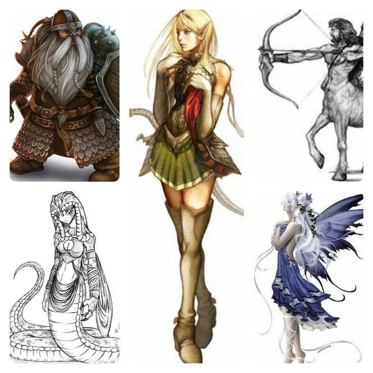 5 humanoid mythical creatures--- The dwarf, the elf, the centaur, the fairy, and the Naga...