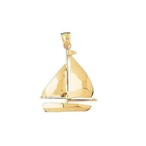 14k Yellow Gold Sailboat Charm Nautical Pendant Gift