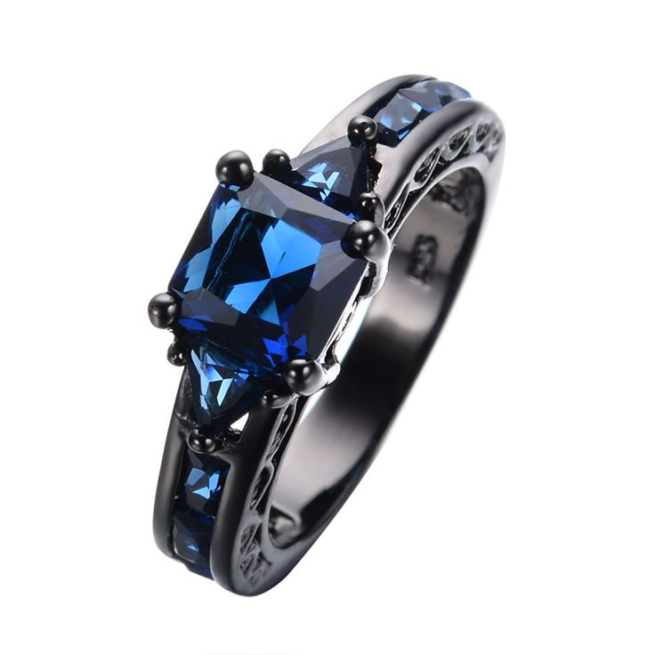 Antique Design Jewelry Women Wedding Ring Anel Princess Cut Blue CZ Black Gold Filled Engagement Rings Sz6-10 RB0050