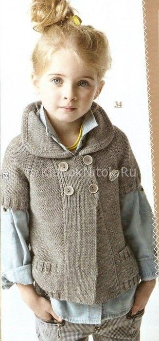 Серый двубортный жакет | Вязание для девочек | Вязание спицами и крючком. Схемы вязания.
