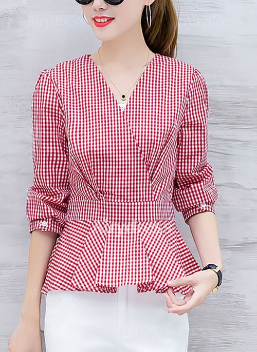 Blouses - $20.16 - Check Elegant Cotton Polyester V-Neckline Long Sleeve Blouses (1645221947)