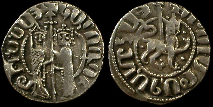 Cilician Ancient Armenia. Coins representing King Hetoum I with Queen Zabel, 1226-1270 AD.