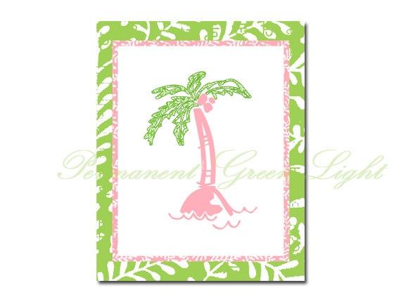 Tropical Palm Print Preppy Nursery decor Pink and Green tropical art Beach Nursery Decor. $11.00, via Etsy.