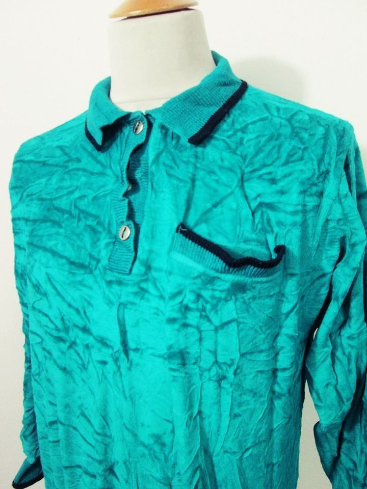 Vintage Mod Indie Velour Bright Green Polo Sweater Top Small
