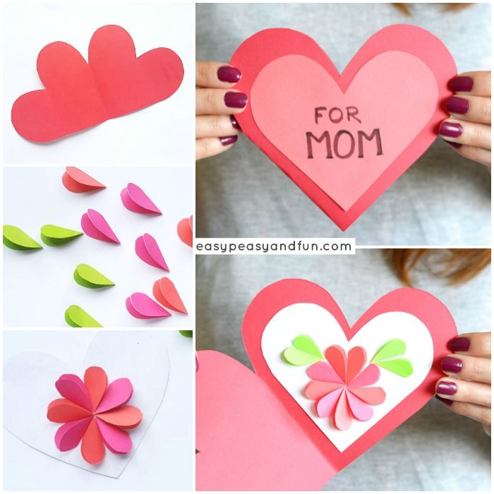 Heart Flowers Mothers Day Card Mothers Day Crafts Mothers Day