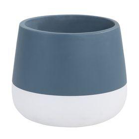 Dipped Drum Pot - Blue & White