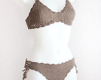 Crochet bikini set with tassels, Boho Crochet bikini top, Crochet swimsuit, Hipster bikini, Crochet beachwear, Vintage crochet