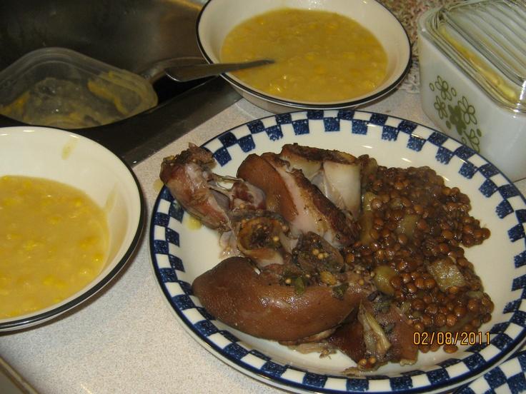 cream corn - lentils - cooked pig foot