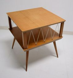 Atomic Style Mid Century Modern Blond End Table