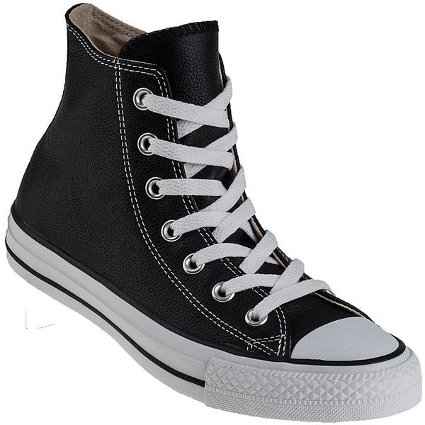 CONVERSE WOMEN'S Chuck Taylor All-Star Hi-Top Sneaker Black Leather found on Polyvore