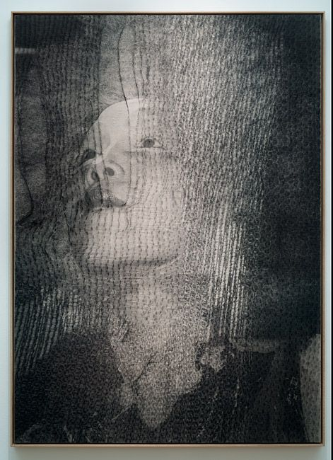 David Noonan, Untitled, 2012 screen-printed jute and linen collage 204 × 146cm Roslyn Oxley9 Gallery, Sydney, 2013