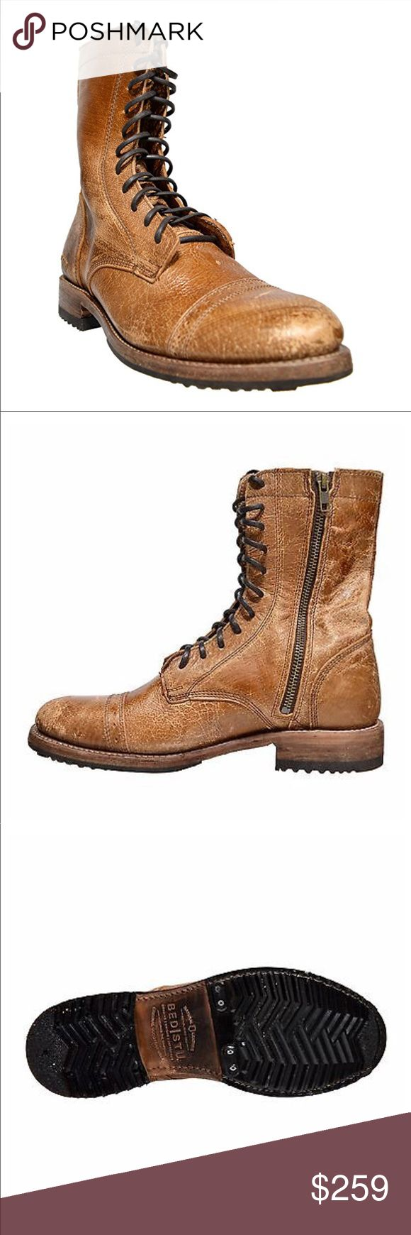"""Bed Stu Hendrix distres Leather Combat Boot unisex Bed Stu Hendrix Men's Military Inspired Grain Leather Cap-toe Combat Boots Tan NEW Hand made in Mexico BED STÜ Organics*  • Chrome free, vegetable tanned leather upper • Handmade by Real People • Cap toe design w/ perforated detail  • 9"""" shaft height, 1"""" heel height • Goodyear welted outsole w/ durable lug outsole  • Made in Leon, Mexico Bed Stu Shoes Boots"""
