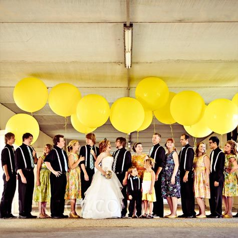 Yellow balloon wedding party