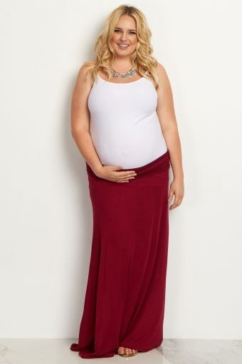Navy Basic Plus Maternity Maxi Skirt