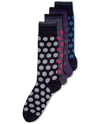 Calvin Klein Men's Socks, Striped Polka Dot Casual Crew Socks - Underwear - Men - Macy's