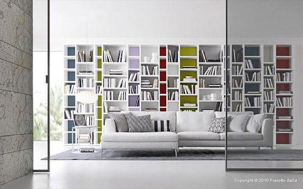Bookshelf storage, color blocks