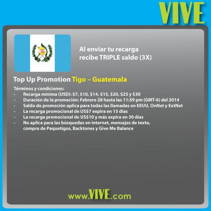 #VIVE ofrece TRIPLE saldo a las #recargas #móviles #internacionales a #Guatemala en la red de #Tigo  Visita www.vive.com