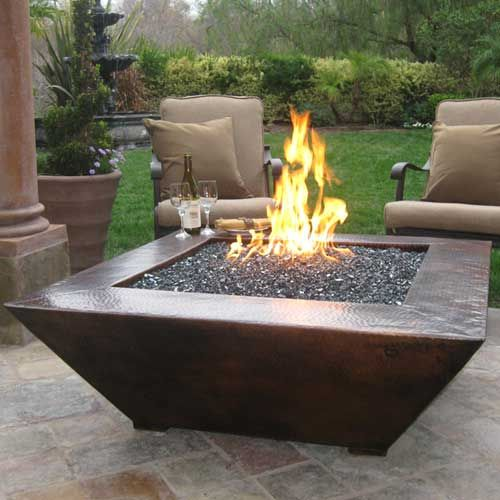 "FB - 50"" Corinthian Fire Pit. This can have fire glass in it. So pretty."