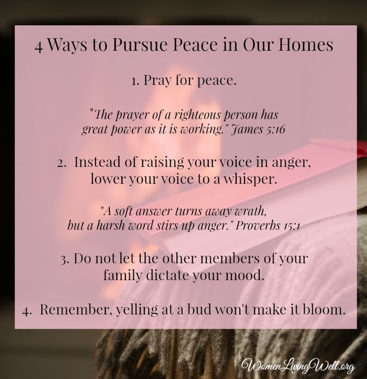 4 ways to pursue peace in our homes