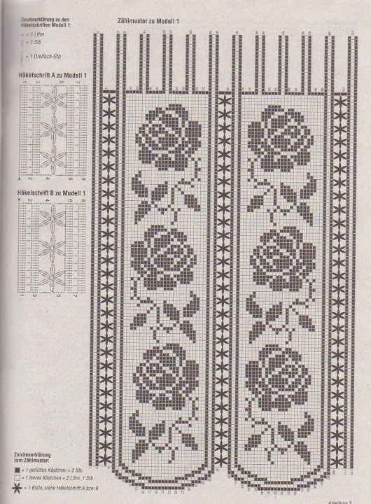 Filetgardinen - Filet crochet lace curtain pattern