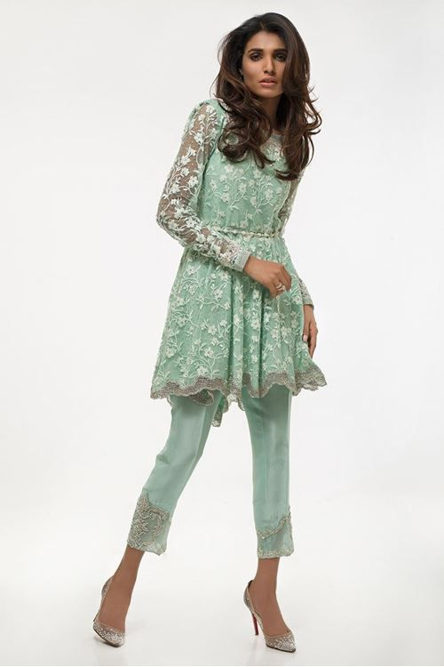 Latest Pakistani Eid Dresses 2017 For Women In Sea Green Color