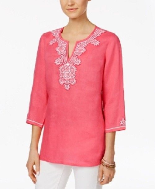 c6138cb731d73 Charter Club Medium Glamour Pink White Embroidered Pink Bead Tunic 2244