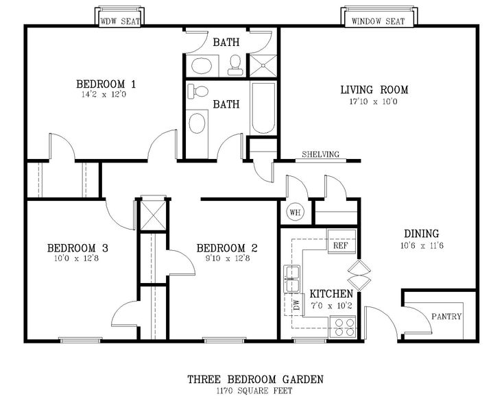 Standard living room size courtyard 3 br floor for What size bed for a 10x10 room