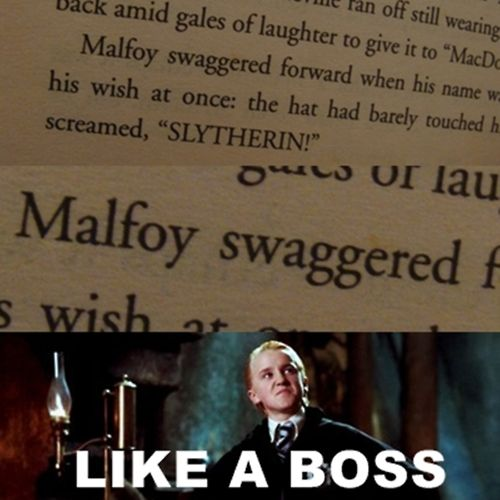 Not a fan of Malfoy, but this was hilarious xD<<<HOW CAN YOU NOT BE A FAN OF MALFOY?! HIS FATHER WILL HEAR ABOUT THIS!!!