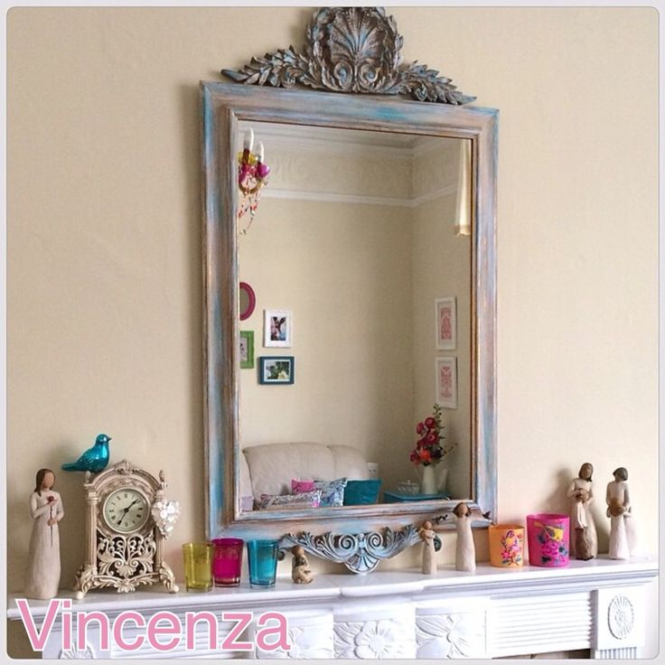 My Living Room Mirror I Painted And Top Of Fire Place Shabby Chic