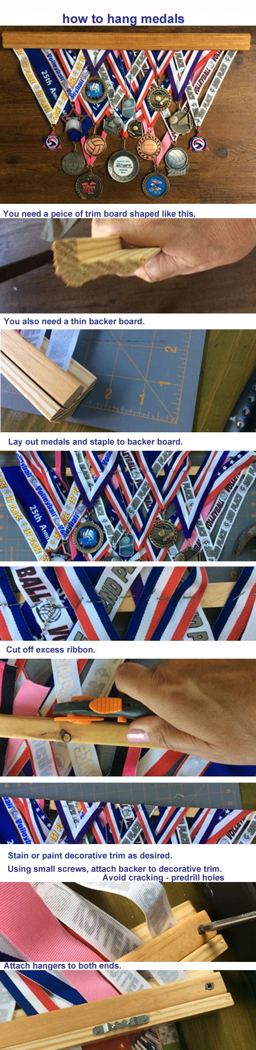 "I have had so many repins of my ""cool way to hang medals"" pin that I have decided to load the instructions too. Here they are."