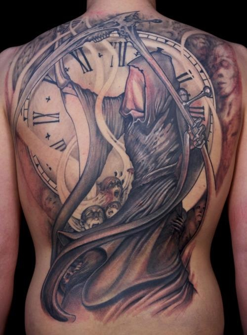 Grim Reaper back piece by Paco Dietz. This tattoo is awesome !!!!