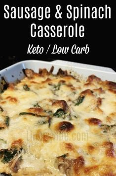 This sausage and spinach casserole is an easy quic…