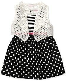 Sweet Heart Rose Little Girls' Crochet Vest & Ponte Dress