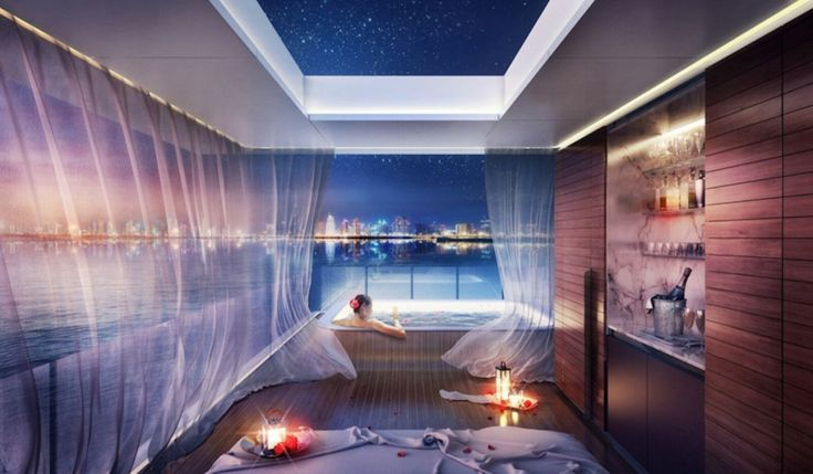 Waterfront home in Dubai - The Floating Seahorse. Innovative home design.  Dream bathroom.