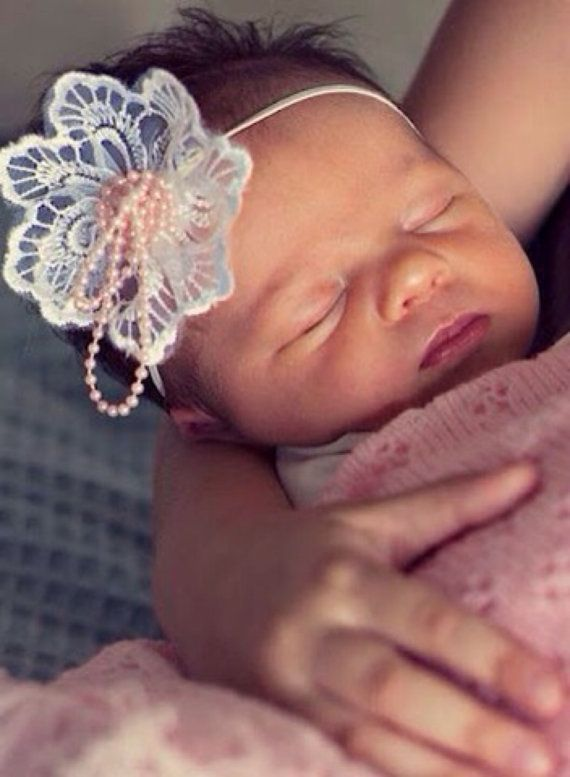 Lace Fleur baby girl headband vintage shabby chic lace pearls newborn photography prop custom made on Etsy, $19.95 AUD
