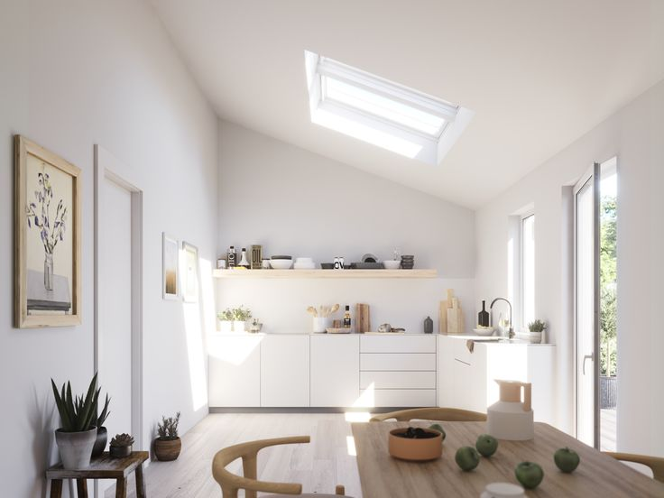 Tolle helle und natürliche Küche dank VELUX Fenstern.