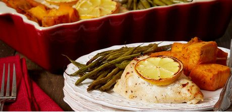 Take a look at this recipe (baked chicken, sweet potatoes and green beans)