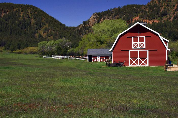 Between Denver And Colorado Springs Red Barns And White