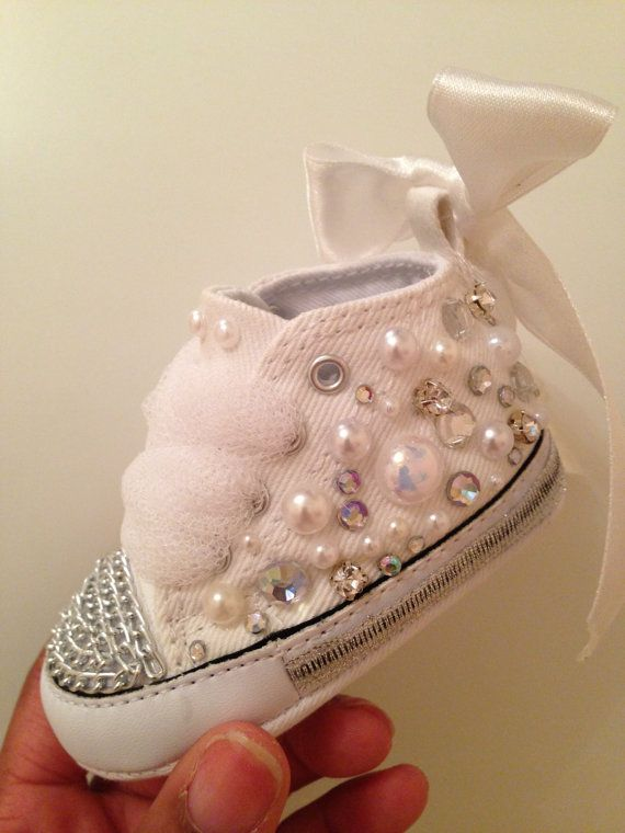Custom baby Converse Pink/white or Navy Encrusted by CustomisedYou - great for Halloween!