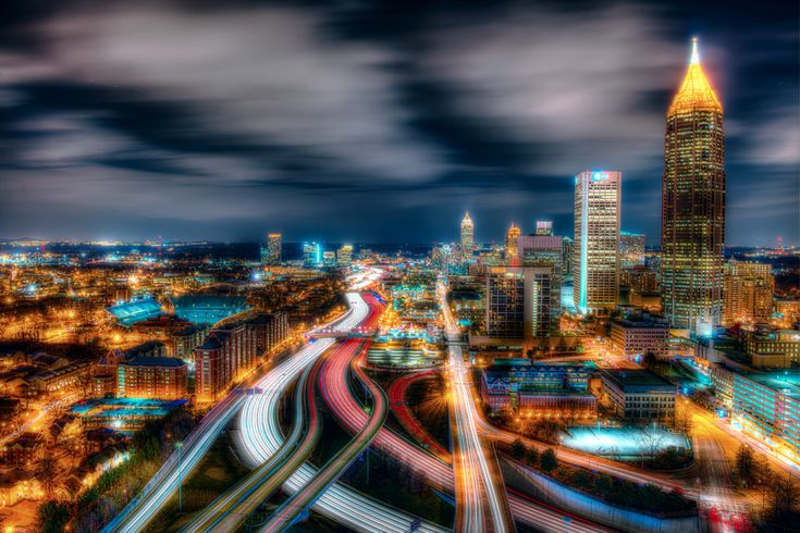 https://flic.kr/p/dYDy4x | Atlanta | © 2013 Steve Kelley  Follow me on [ G+ ],   [ Facebook ] and, [ Twitter ]  Interstate 75 at rush hour and traffic to the left of the image is exiting for an Atlanta Hawks NBA Basketball game.  Shot from the roof with a great vantage point to get an extraordinary length of I-75 looking due North.  Mid-town Altanta is the on the right with Buckhead on the horizon.  Nikon D800 - HDR [9 exposures]
