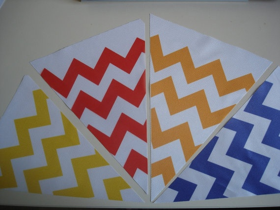 Fabric Bunting Chevron Yellow Red Orange Blue Combo by customflag, $19.00