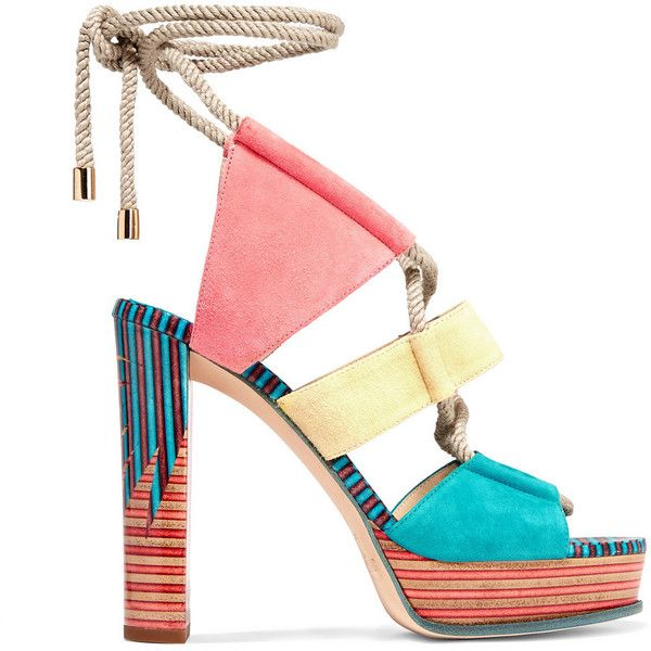 Jimmy Choo Halley color-block suede sandals ($995) ❤ liked on Polyvore featuring shoes, sandals, heels, pink, pink heel sandals, jimmy choo shoes, block-heel sandals, heeled sandals and pink sandals
