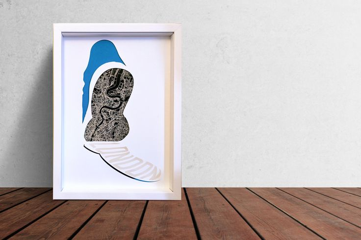 London marathon map. A modern artwork with London etched from the sole of a trainer. A great gift for any marathon runners. Available to buy now at http://phome.co.uk