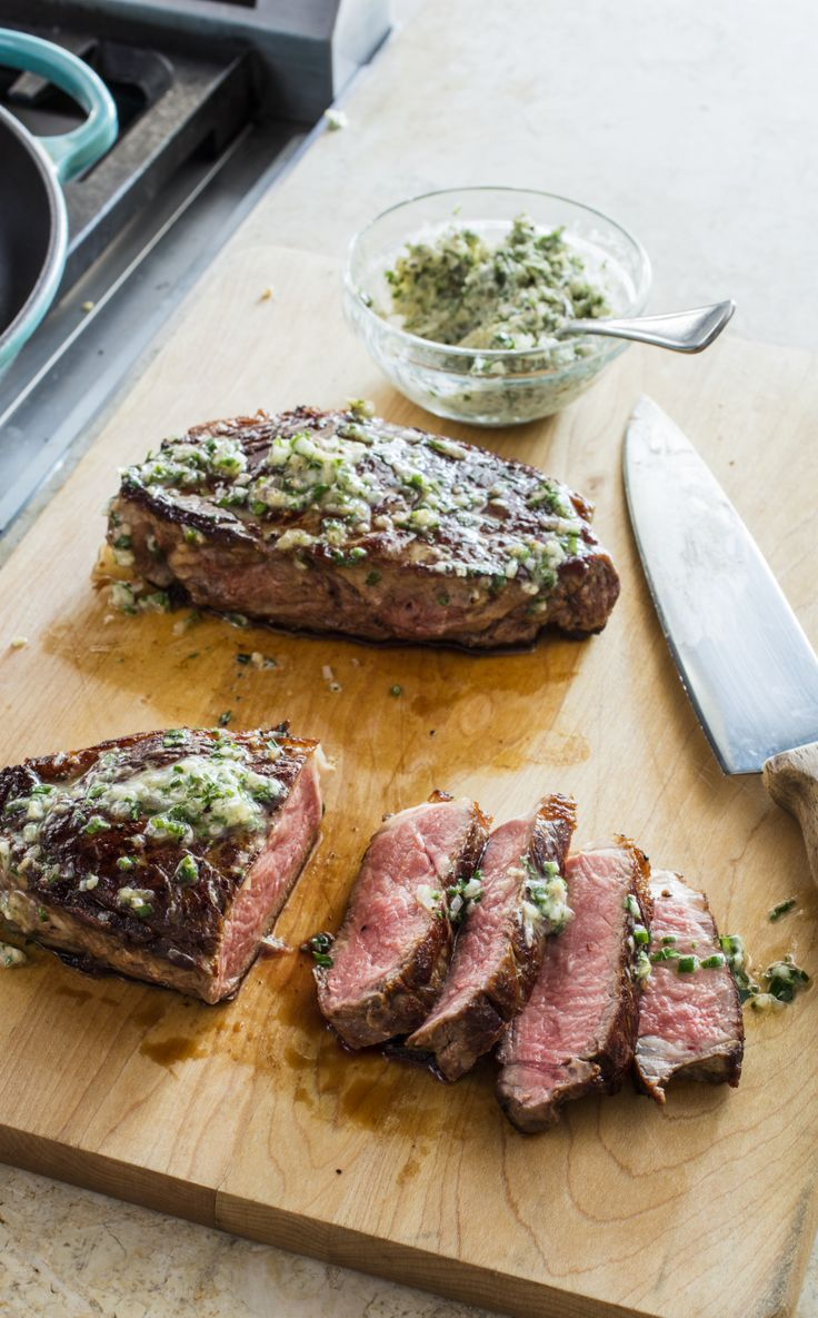 Cast-Iron Steaks with Herb Butter. After testing differing flipping techniques and heating levels, we found that flipping the steaks more (every two minutes), resulted in a shorter cooking time and thus a smaller gray band of dry, overcooked meat around the interior of the steak.