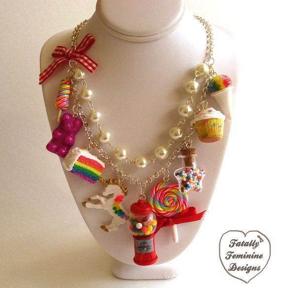 Hey, I found this really awesome Etsy listing at https://www.etsy.com/listing/177711530/statement-necklace-kawaii-rainbow-candy