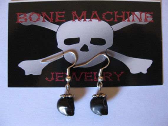Black Howlite Skulls with hats Earings by BoneMachineJewelry, $7.50