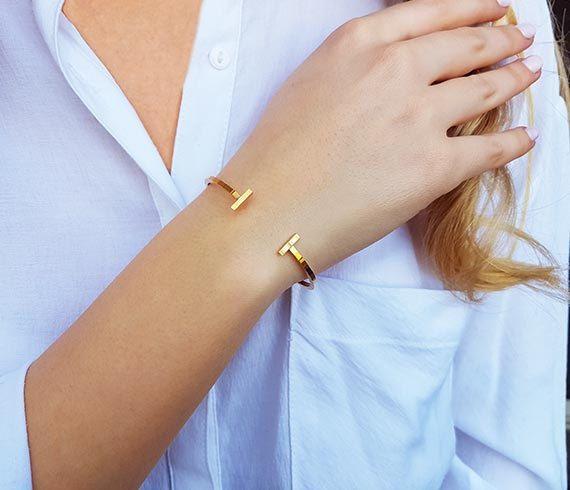 Bar cuff bracelet Gold cuff bracelet T bracelet Stacking